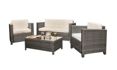 comfy living rattan garden furniture 4 piece set glass topped table in grey