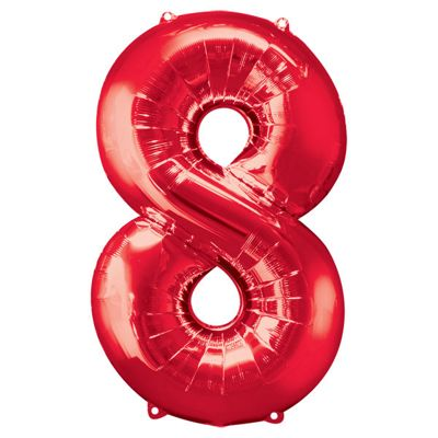 Red Number 8 Balloon - 34 inch Foil
