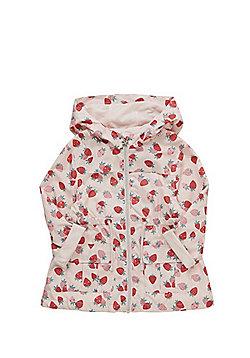F&F Strawberry Print Hooded Mac - Pink