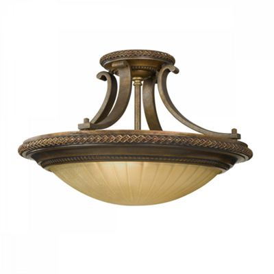 Firenze Gold/British Bronze Semi-Flush Light - 2 x 60W E27