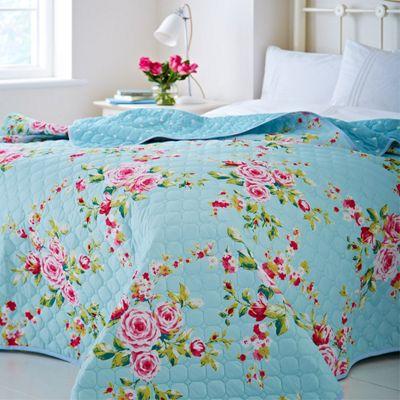 Catherine Lansfield Canterbury Blue Bedspread - 240x260cm