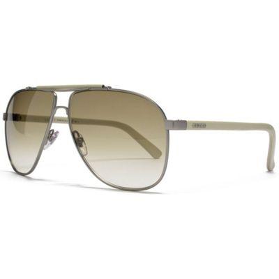 Gucci Sunglasses Metal Aviator in Silver and Cream.