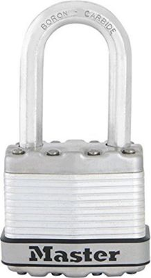 Excell high security anti-rust long shackled keyed padlock, 45 mm, in stainless steel/zinc