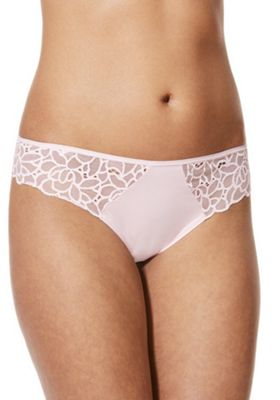F&F Floral Lace Trim Thong Pink 18