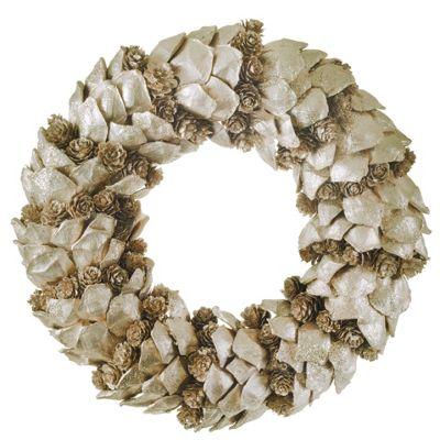 Gold Glitter Bark & Pine Cone 30cm Christmas Wreath