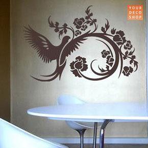 Floral Dove Wall Sticker, Black