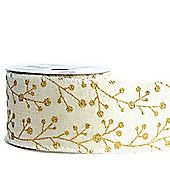 Ribbon Wired Edge - 2.5inches x 10y - Cream & Gold Glitter