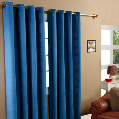 Homescapes Cotton Rajput Ribbed Blue Curtain Pair, 54 x 54