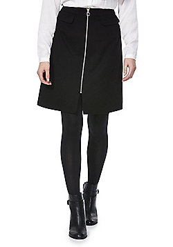 F&F Mock Pocket Zip-Through Skirt - Black