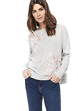Wallis Embroidered Floral Jumper - Grey