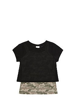 F&F Mesh T-Shirt with Camo Print Camisole - Black/Khaki