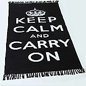 Homescapes Keep Calm And Carry On Black White Rug Hand Woven Base, 60 x 100 cm