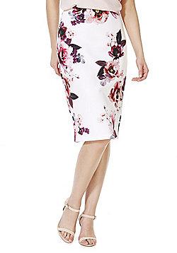 F&F Rose Print Scuba Pencil Skirt - Cream & Pink