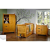 Obaby Stamford Cot Bed 5 Piece Nursery Room Set/Sprung Mattress/Quilt and Bumper Set - Country Pine