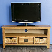 Surrey Oak 110Cm TV Stand with Baskets - Waxed Finish