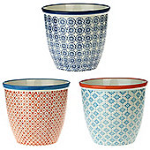 Patterned Plant Pot. Porcelain Indoor / Outdoor Flower Pot - 3 Individual Designs - Box of 3
