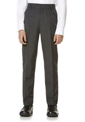 "F&F School 2 Pack of Boys Teflon EcoElite""™ Flat Front Slim Leg Trousers 3-4 years Light grey"