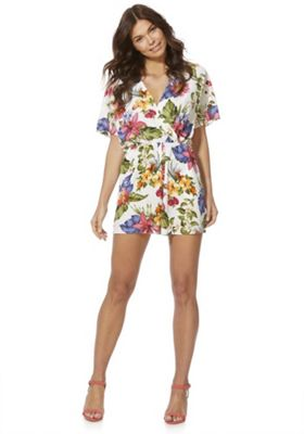 F&F Floral Wrap Front Playsuit Multi 22