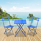 Outsunny 3PC Bistro Set Garden Balcony Folding Square Table Chair (Blue)