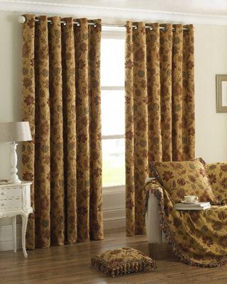 Zurich Gold Eyelet Curtains, 229x229cm