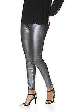 F&F Glitter Mid Rise Skinny Jeans - Silver