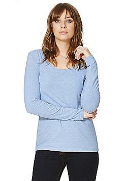 F&F Scoop Neck Long Sleeve T-Shirt - Light blue