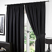 "Dreamscene Pair Thermal Blackout Pencil Pleat Curtains, Black - 90"" x 90"" (228x228cm)"