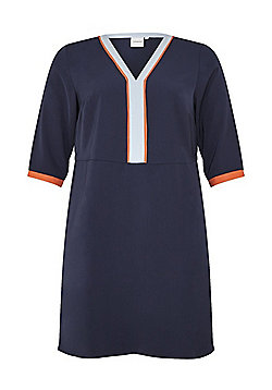 Junarose Striped Trim Plus Size Y-Neck Dress - Navy