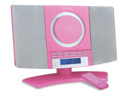 DENVER MC-5220 Pink CD Player Stereo Wall Mountable Music System with FM Radio, Clock Alarm & Remote