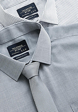 F&F 2 Pack of Easy Care Regular Fit Shirts with Tie - Grey
