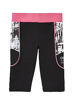 F&F Active Blurred Marble Print Panel Cycling Shorts - Black