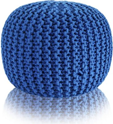 Snug City Blue Knitted Pouffe Chunky Round Footstool Ottoman 100% Cotton Handmade