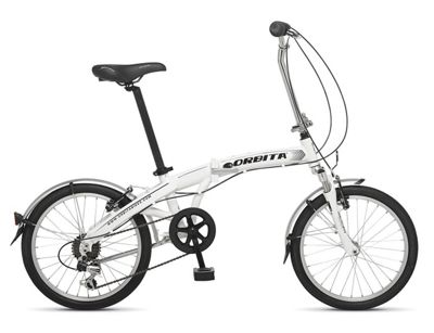 Orbita Evolution 7 Speed, 20 inch wheel aluminium folding bike with front suspension. (White)