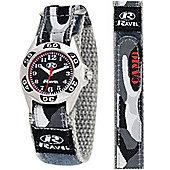 Boys Grey Camouflage Velcro Strap Watch