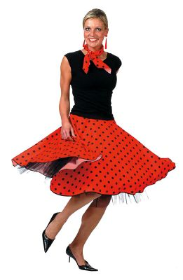 Rock'n'Roll Skirt Red - Adult Costume Size: 14-18