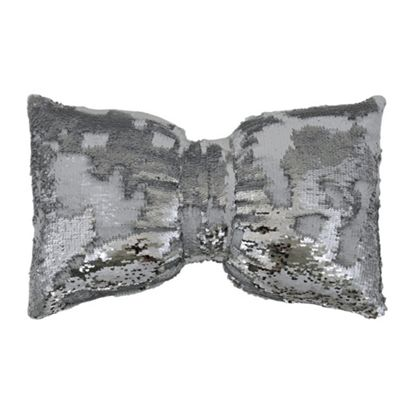 Two Tone Sequin Siren Bow Cushion - White & Silver