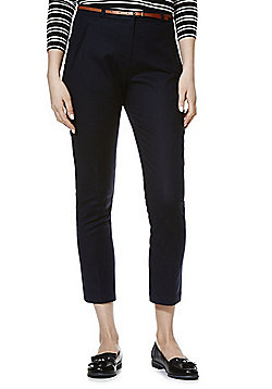 F&F Ankle Grazer Mid Rise Slim Leg Trousers with Belt - Navy