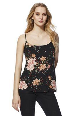 Vero Moda Floral Print Cami Top Black Multi M