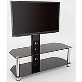 AVF Universal Black Glass and Chrome Legs Cantilever TV Stand For up to 65 inch TVs