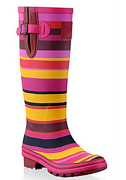 Evercreatures Ladies Funky Wellies Striped Sunset Pattern in Pink - Size 3 (UK)