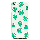 iPhone 7 Cute Cactus Pattern Clear Silicone Case - Green