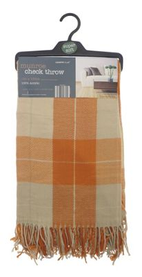 Country Club Munroe Check Acrylic Throw 130 x 190cm, Orange