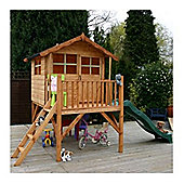 5 x 7 Sutton Tower Wooden Playhouse and Slide (5ft x 7ft)