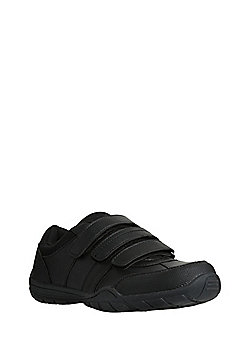 F&F Triple Riptape Strap School Shoes - Black