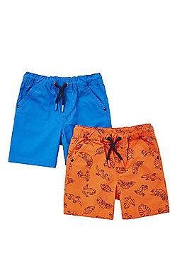 F&F 2 Pack of Lizard Print and Plain Drawstring Shorts - Orange & Blue