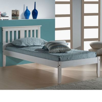 Happy Beds Salvador Wood Low Foot End Bed with Pocket Spring Mattress - White - 3ft Single