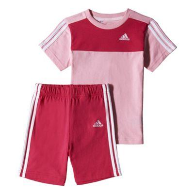adidas 3 Stripe Infant Kids Summer T-Shirt/Short Set Pink, 12-18 Month
