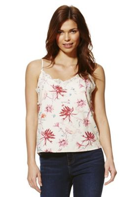 Only Floral Lace Trim Cami Top Cream XS