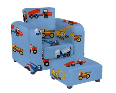 Chair with Footstool - Toy Trucks
