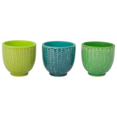 Set of 3 Green Ceramic Retro Bowl Tealight Holders